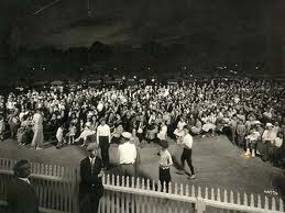 An outdoor concert, waaay back in the day