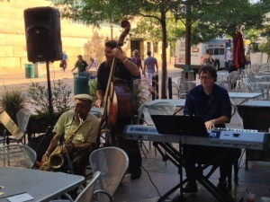 Playing on the patio, with guest Billy Peterson
