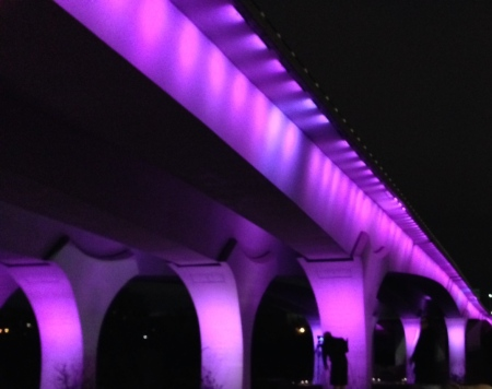 One of the many purple lighted tributes to Prince last Thursday