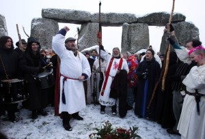 Druids celebrating the Winter Solstice at Stonehenge